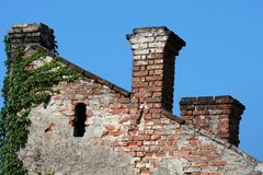 Vintage brick chimneys Stock Images