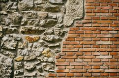 Vintage Brick and Stone Wall Royalty Free Stock Photo