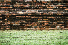 Vintage brick wall. With grass Stock Photos