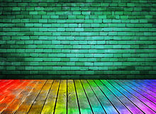 Vintage brick wall and colorful wood floor texture stock illustration
