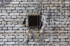 Vintage brick wall with ventilation Royalty Free Stock Image