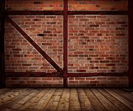 Vintage brick wall and wood floor interior. Vintage brick wall and wood floor texture interior Stock Photos