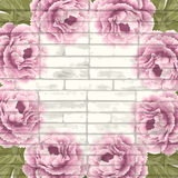 Vintage bricks background with peonies Stock Photography