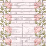 Vintage bricks background with roses Stock Image