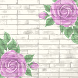 Vintage bricks background with roses Stock Photography