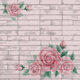 Vintage bricks background with roses Royalty Free Stock Photos