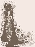 Vintage bride. Vintage background with flowers and bride silhouette Royalty Free Stock Image