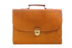 Vintage briefcase. Vintage brown briefcase with buckle lock. White background with clipping path Royalty Free Stock Image