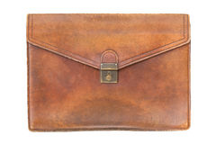 Vintage briefcase with Isolated white background Stock Photography