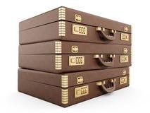 Vintage briefcase stack Stock Photos