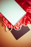 Vintage bright background with red drapery Royalty Free Stock Photos