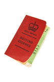 Vintage British driving licence. Vintage old-style British driving licence isolated on white - clipping path Royalty Free Stock Photo