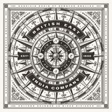 Vintage British East India Company Nautical Typography One Color royalty free illustration