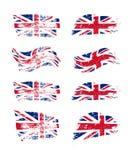 Vintage British flag set. Vector UK flags on grunge texture. stock illustration
