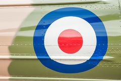 Vintage british military roundel. British military roundel on a camouflaged vintage aircraft Royalty Free Stock Photos