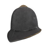 Vintage British police helmet hat isolated. Stock Photo