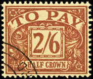 Vintage British Postage Due Stamp Stock Images