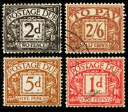 Vintage British Postage Due Stamps. Old Postage Due Stamps from Britain, circa 1914 to 1963 Stock Photography