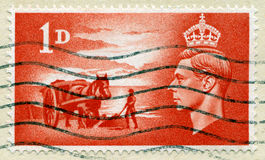 Vintage British Postage Stamp with King George VI. UNITED KINGDOM - CIRCA 1948: A vintage British postage stamp celebrating the liberation of the Channel Islands Royalty Free Stock Photos