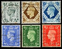 Vintage British Postage Stamps. King George VI Postage Stamps from Britain, circa 1937 - 1952 Royalty Free Stock Photo