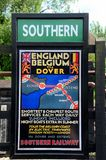 Vintage British Southern Railway poster England to Belgium  train Royalty Free Stock Image