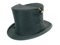 Vintage broken black top hat Royalty Free Stock Image