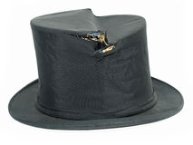 Vintage broken black top hat Stock Photos