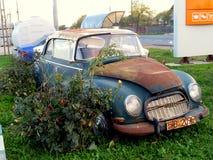 Vintage broken car. Picture taken in Valea Seaca, near Bacau,Romania Royalty Free Stock Images
