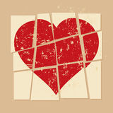 Vintage Broken heart in relationship. Illustration Stock Images