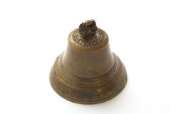 Vintage bronze bell.  Made of bronze and silver. Stock Photo