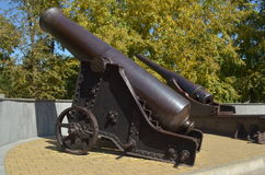 Vintage. Bronze cannon, long shoots, but the touches for the soul Royalty Free Stock Photography