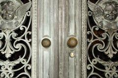 Vintage bronze door detail. Close up Stock Photography