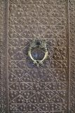 Vintage bronze door and door handle in Agha Bozorg mosque, Kashan, Iran. Stock Photo