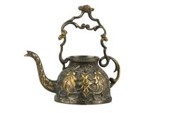 The vintage bronze kettle. On white background Stock Images