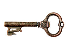 Vintage Bronze Key isolated Stock Photography