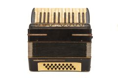 Vintage brown 1930s accordion isolated. On white background Stock Photos