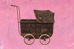 Vintage brown baby stroller Stock Image