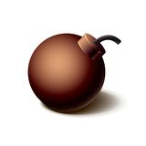 Vintage brown bomb icon,  on white Royalty Free Stock Photo
