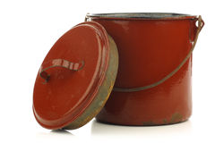 Vintage brown enamel cooking pot Stock Image