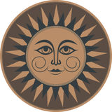 Vintage brown ethnic ornament fresco occult smiling sun Royalty Free Stock Photos