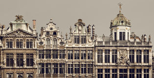 Vintage Brown Filter on Historical Buildings of Brussels in Grand Place Stock Photos