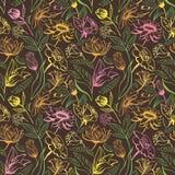 Vintage brown floral pattern Stock Images