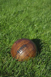 Vintage Brown Football Soccer Ball Green Grass Field Stock Images
