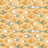 Vintage Brown Green Seamless Fish Pattern Royalty Free Stock Photos