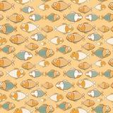 Vintage Brown Green Seamless Fish Pattern. Retro Vector Illustration of Sea Life Royalty Free Stock Photos