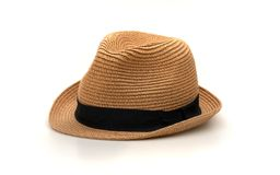 Brown Hat On White Background stock images