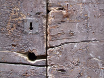 Vintage brown iron keyhole. Keyhole in a vintage retro rustic door. Old brown wood rough surface - nice background pattern with cracks and crevices Royalty Free Stock Images