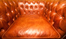 Vintage brown leather armchair Stock Photo