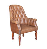 Vintage brown leather armchair isolated Royalty Free Stock Photo