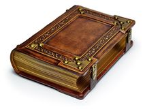 Vintage brown leather book with gilded paper edges, metal corners and straps royalty free stock photos